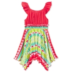 Sweet Heart Rose Girls Flutter-Sleeve Tie Dye Tank Dress