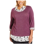 Style&co. Womens Layered Tab-Sleeve Pullover Sweater