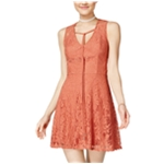 Trixxi Womens Smooth Lace Fit & Flare Dress