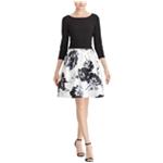 American Living Womens Floral Jacquard A-line Dress
