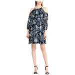 American Living Womens Floral Cold Shoulder Dress