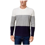 Club Room Mens Colorblocked Cable Pullover Sweater
