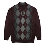 Tasso Elba Mens Quarter-Zip Argyle Pullover Sweater