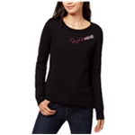 maison Jules Womens Embroidered Lipstick Knit Sweater