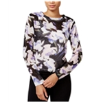 bar III Womens Floral Print Knit Blouse