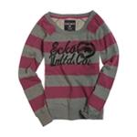 Ecko Unltd. Womens Stripe Glitter Heart Rhino Knit Sweater