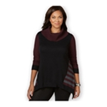Style&co. Womens Colorblocked Handkerchief-Hem Pullover Sweater