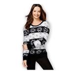 Style&co. Womens Snowflake-Print Eyelash Pullover Sweater
