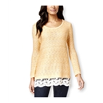 Style&co. Womens Lace-Hem Marled Pullover Sweater
