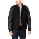 Calvin Klein Mens Leather Sleeve Varsity Jacket