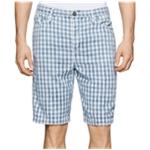 Calvin Klein Mens Check-Print Casual Walking Shorts