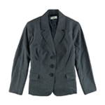 Le Suit Womens Denim Three Button Blazer Jacket