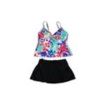 Swim Solutions Womens Tahiti Breeze Twist Skirt 2 Piece Tankini