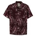 Tasso Elba Mens Leaf Silk Linen Button Up Shirt