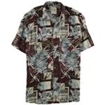 Tasso Elba Mens Silk Linen Patchwork Button Up Shirt
