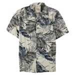 Tasso Elba Mens Silk Palm-Print Button Up Shirt