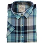 Tasso Elba Mens Plaid SS Button Up Shirt