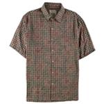 Tasso Elba Mens Silk Linen Print Button Up Shirt
