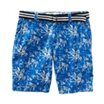 Aeropostale Mens Belted Tropical Pattern Casual Chino Shorts