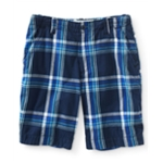 Aeropostale Mens Longer Length Plaid Casual Chino Shorts