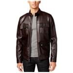 I-N-C Mens Fuax Leather Motorcycle Jacket