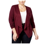 I-N-C Womens Faux Suede Cardigan Sweater