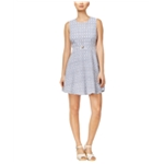 maison Jules Womens Gingham Fit & Flare Cocktail Dress