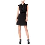 maison Jules Womens Ruffled Lace-Inset A-line Shift Dress