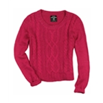 Ecko Unltd. Womens Open Neck Cable Knit Pullover Sweater
