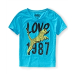 Aeropostale Womens Love 1987 Cheetah Pajama Sleep T-shirt