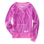 Aeropostale Womens Animal Print Velour Dorm Sweatshirt