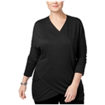 I-N-C Womens Draped Knit Blouse