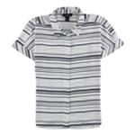 Alfani Womens Striped Button Up Shirt