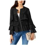 I-N-C Womens Linen Ruffled Jacket