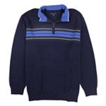 John Ashford Mens Chest Stripe Quarter-Zip Pullover Sweater
