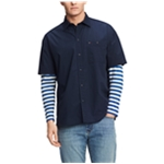 Tommy Hilfiger Mens Oversized Striped Sleeve Button Up Shirt