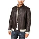 I-N-C Mens Fleece-Lined Faux Leather Jacket