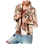 I-N-C Womens Faux-Leather Motorcycle Jacket