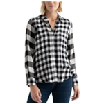 Lucky Brand Womens Pleat Back Plaid Button Down Blouse
