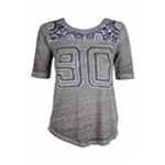 Lucky Brand Womens Floral Print Varsity Graphic T-Shirt