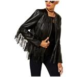 I-N-C Womens Fringed Motorcycle Jacket