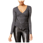 Material Girl Womens Wrap-Front Ribbed Pullover Sweater