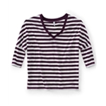 Aeropostale Womens V-neck Stripe 3/4 Sleeve Graphic T-Shirt