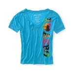 Aeropostale Womens V-neck Loose Fit Cropped Graphic T-Shirt