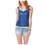 Aeropostale Womens Lace Button Front Tank Top