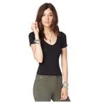 Aeropostale Womens Solid Stretch Basic T-Shirt