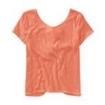 Aeropostale Womens Knot Back Cropped Basic T-Shirt
