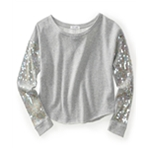 Aeropostale Womens Solid Cropped Paillette Sweatshirt