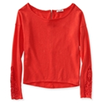 Aeropostale Womens Zip Back Lacey Embellished T-Shirt