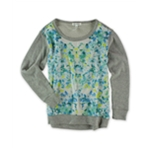 Aeropostale Womens Floral Silk Front Embellished T-Shirt